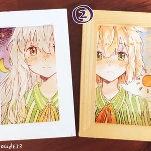 朝と夜の少女 名刺サイズ水彩ミニ原画