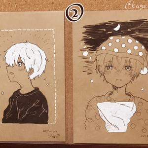 茶色ポストカード原画2