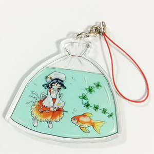 蓬莱巫女と金魚のアクリルストラップ(月光の反魂)
