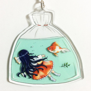 蓬莱巫女と金魚のアクリルストラップ(白山修験)