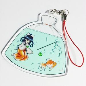 蓬莱巫女と金魚のアクリルストラップ(霊夢のお茶会)