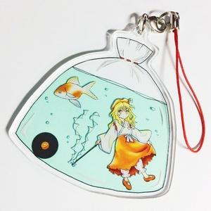 蓬莱巫女と金魚のアクリルストラップ(神道国幻想)