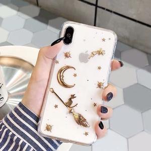 【星月】透明/黒 可愛い 猫宅急便 デザイン iPhoneケース 携帯カバー