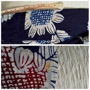 [ゆかたセット]昭和 涼しげブルーのひまわり柄&ロウケツ染風半幅帯