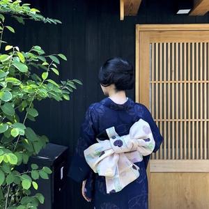 藍色あおい 昭和中期のひとえ着物