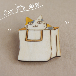 木製ブローチ 猫①