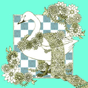 白鳥柄マイクロファイバークロス