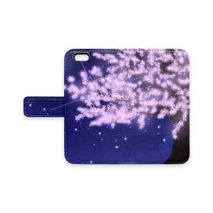 手帳型iPhoneケース 夜桜
