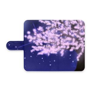 手帳型スマホケース 夜桜