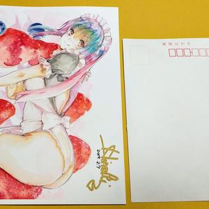 販売済み [アナログ水彩画] デジユウちゃん・メイドコスA