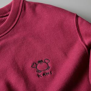 カニの刺繍トレーナー|バーガンディ