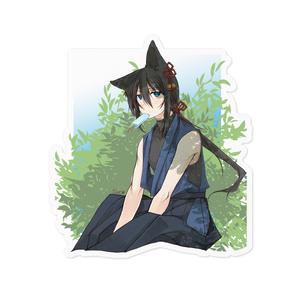 【創作】ステッカー:黒髪ケモミミ