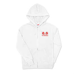ERSONAジップパーカー(白&ロゴ赤)