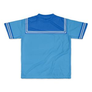 MサイズなんちゃってKIKIYOU'Sセーラー風ジャケット水青紺ネク_Tシャツ