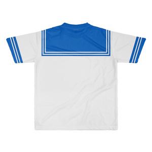 XLサイズなんちゃってKIKIYOU'Sセーラー風ジャケット白灰青ネク_Tシャツ