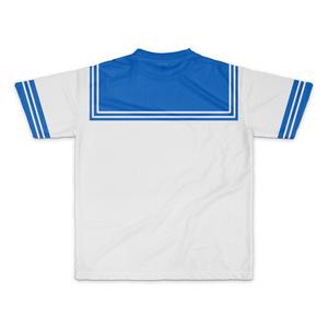 MサイズなんちゃってKIKIYOU'Sセーラー風ジャケット白灰青ネク_Tシャツ