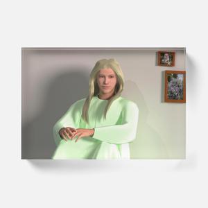 大天使ラファエル/壁を背に座るアクリルブロック