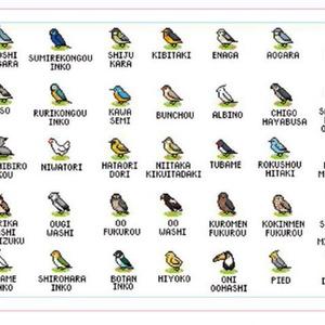 鳥ドット絵 手ぬぐい