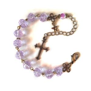 二つの祈りの光 ロザリオ風ブレスレット アレキサンドライトカラー