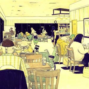 ポストカード − ダウンタウンのコーヒーショップ
