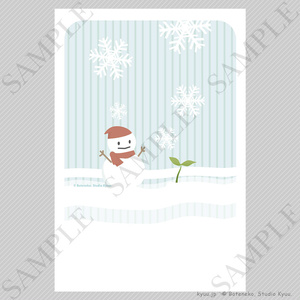【冬の挨拶状テンプレート】雪だるま(縦)