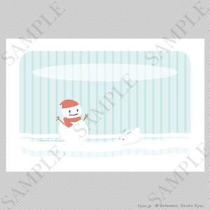 【冬の挨拶状テンプレート】雪だるま(横)