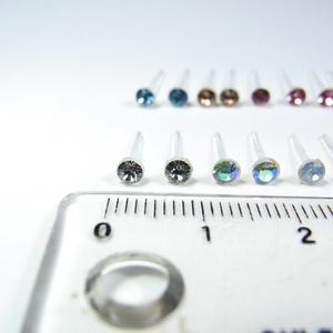 ピアス2組(4個入) 3mm 樹脂製 アクリルストーン 13色◆lalalady-125