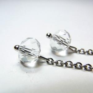 ロングピアス チタンフック&ステンレスチェーン クリスタルガラス◆lalalady-160
