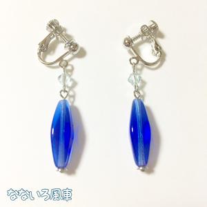 青の結晶*チェコとスワロフスキーのイヤリング・ピアス
