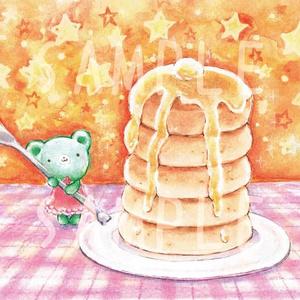 くまみちゃんとホットケーキ ポストカード