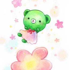 くまみちゃんとお花のポストカード