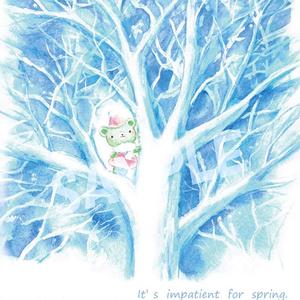 くまみちゃんと冬の木 ポストカード