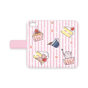 くまさんねこさん三時のおやつ*手帳型iphoneケース ピンク