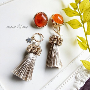 【SALE】2WAY Cream Tassel + star イヤリング