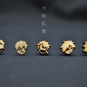 同田貫・岩融・陸奥守・光忠・五虎退 木製耳飾り
