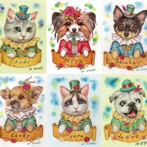 【額縁無し】ペット画ミニサイズ【犬、猫、その他動物】