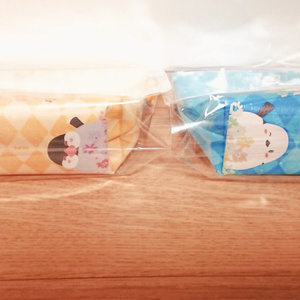三角ポーチ(シマエナガ、仲良し文鳥)