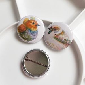 コマドリ・花うさぎ・スズメのミニ缶バッジ