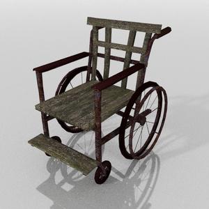 3Dモデル「古びた車椅子」