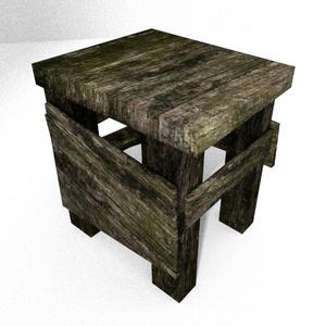 3Dモデル「苔木の腰掛け」