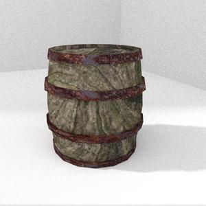 3Dモデル「苔木の樽」