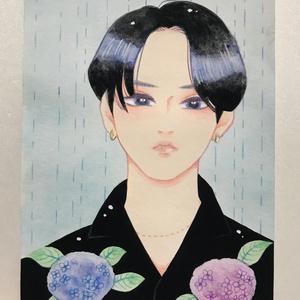 原画 黒髪紫陽花少年