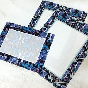 人魚のレターセット 黒×水色