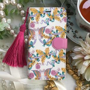 妖精とアンモナイトの柄 手帳型スマホケース