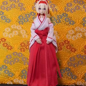 ◆ 巫女服(普通の袴) ◆白巫女・黒巫女◆1/12サイズ布服◆