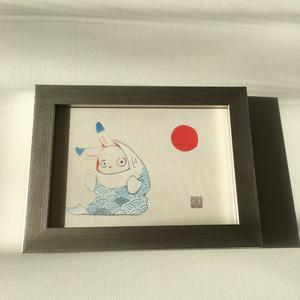 日本画原画-あおの鯉-