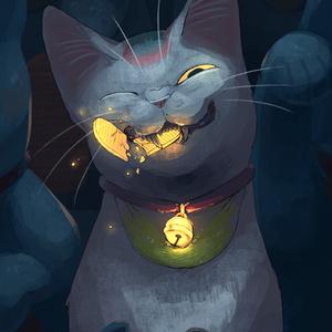 金色ポストカード「猫に小判」