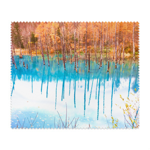 メガネ拭き—白樺の紅葉と青い湖面1