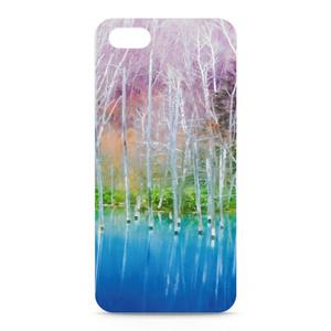 iPhoneケース—白樺の紅葉と青い湖面4