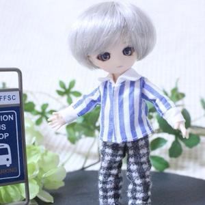 オビツ11用 Yシャツストライプ(青